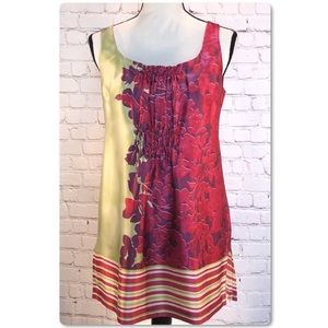 CAbi Silk Floral Stripe Tunic Sleeveless Top